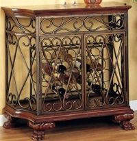 Wrought Iron Wooden Wine Rack Cabinet Buffet Bar Table ...