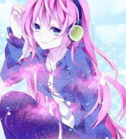 music headphones pink-haired anime