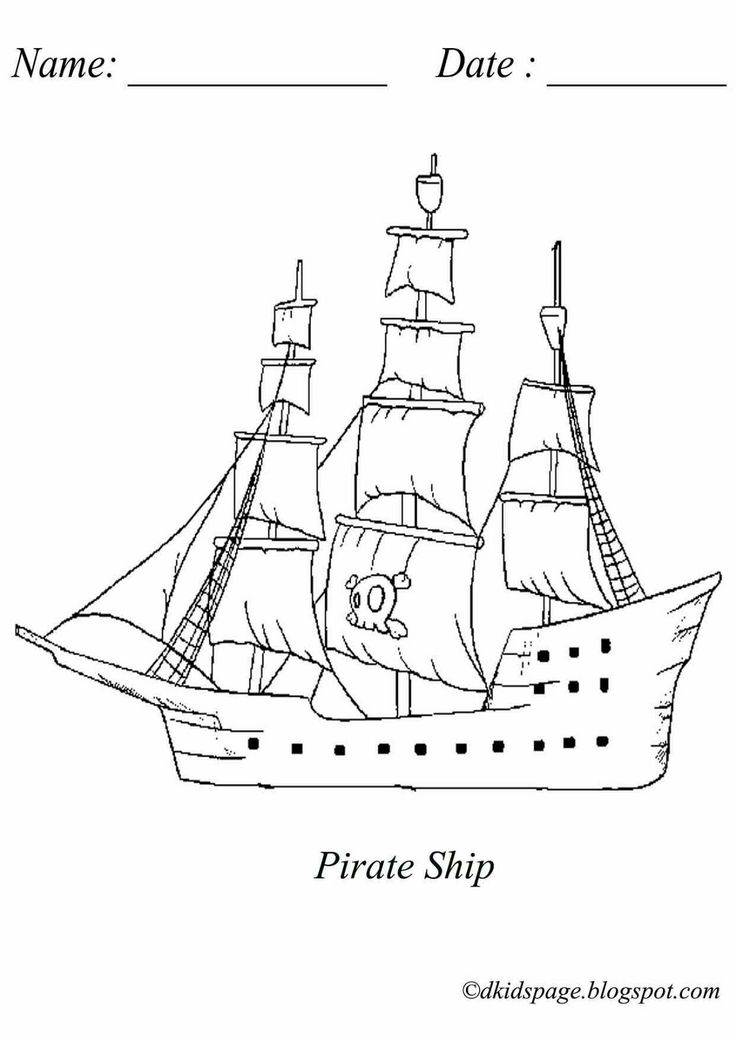 Coloring Picture of Pirate Ship. Download free printable