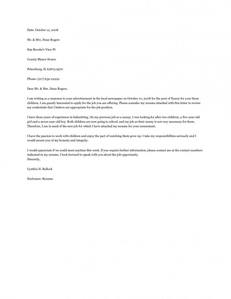 Nanny Cover Letter Example  resume examples  Pinterest  Cover letter example Letter example