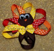 turkey thanksgiving hair bow ribbon sculpture