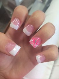 acrylic white tips with pink flower accent nail ...