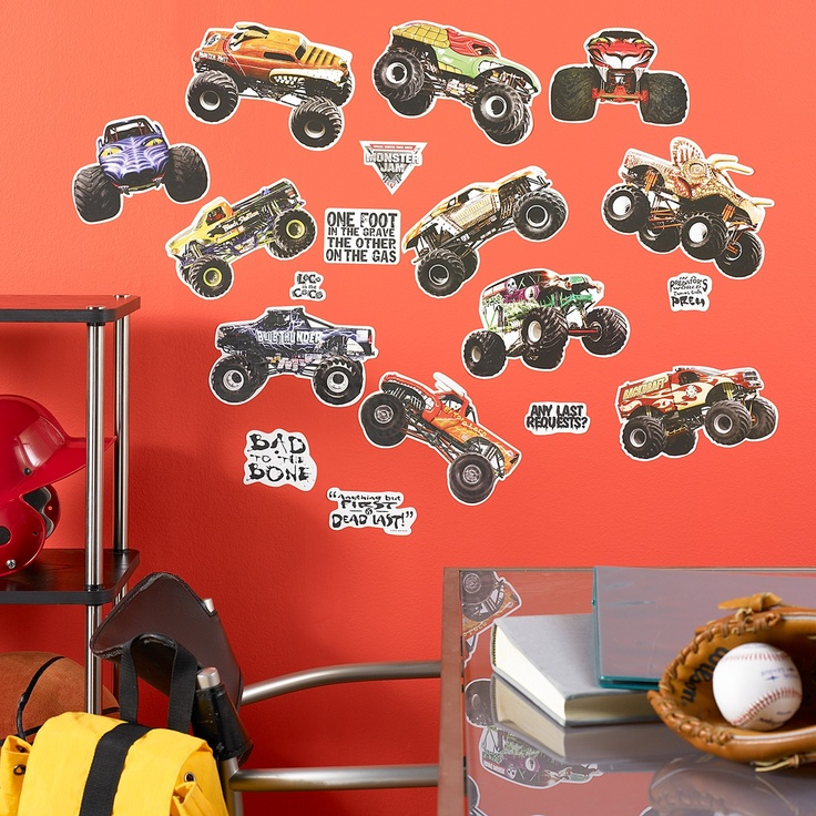 Monster Jam Removable Wall Decorations 43472  boys