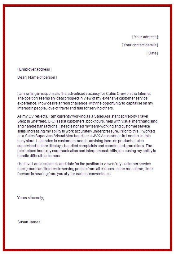 cover letter for flight attendant  resume template