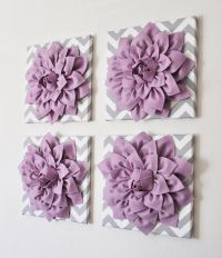 Purple Wall Decor -SET OF FOUR Lilac Dahlias on Gray and ...