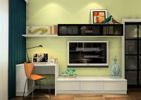 Minimalist desk and TV cabinet combo with pale green wall ...