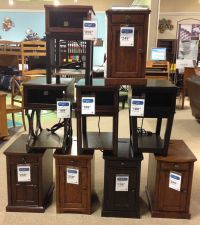 Power side End Tables complete with electrical outlets to ...