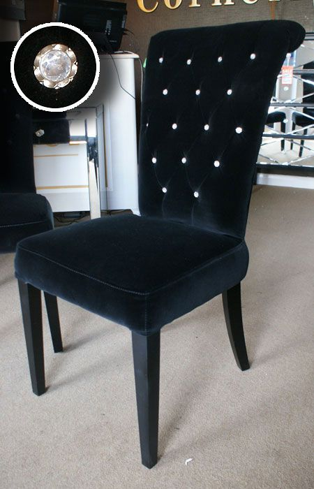 Black Velvet Rolltop Dining Chair Crystal Buttons Id like