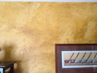 Skip trowel texture. Painted with gold paint then with a ...