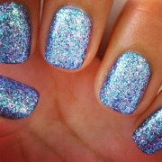 blue glitter nails sparkly