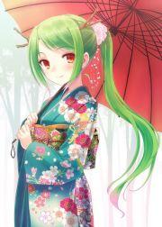 lime green hair and kimono beautiful