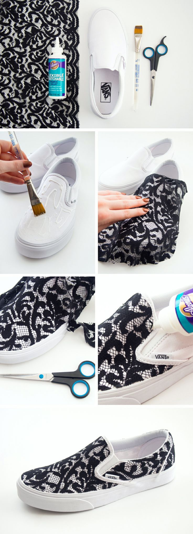 DIY Lace Slip-on Vans Sneakers.