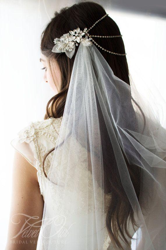 Bridal Draped Veil Draped Veil Drape Veil Crystal