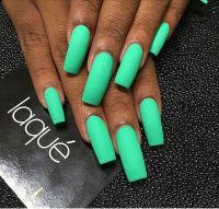 Laque Nail Bar | Matte Neon Green Square Tip Acrylic Nails ...