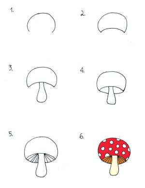 mushroom drawing draw mushrooms simple step drawings doodles easy coloring pages doodle sketches sea steps