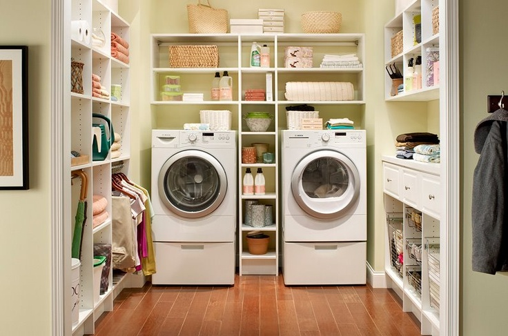 laundry organization :-) I wish my laundry room was this big!