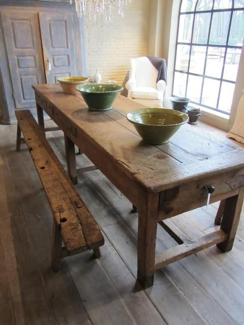 Old Wood Farmhouse Table And Bench With Mom And Dad Chairs