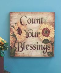 """COUNT YOUR BLESSINGS 16"""" Sunflower Wall Art Wooden Decor ..."""