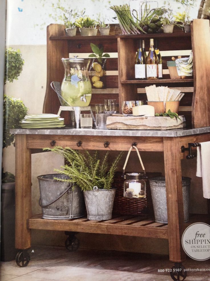bench style kitchen tables cabinets styles potting bench/bar   outdoor projects pinterest steel ...
