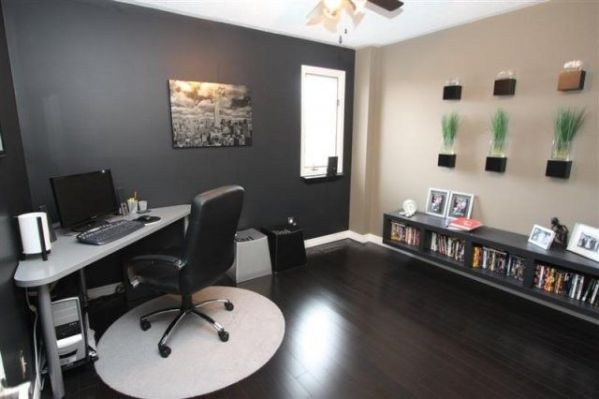 dark grey home office Gray Office with dark wood floors | For the Home | Pinterest | The two, Gray and Lighter