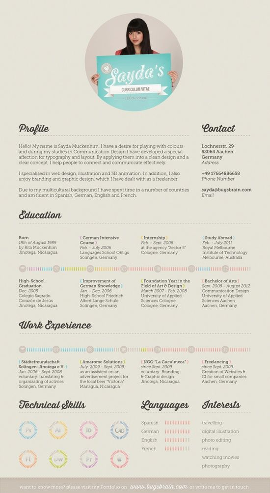17 Best images about Resume Design  Layouts on Pinterest  Infographic resume Creative resume