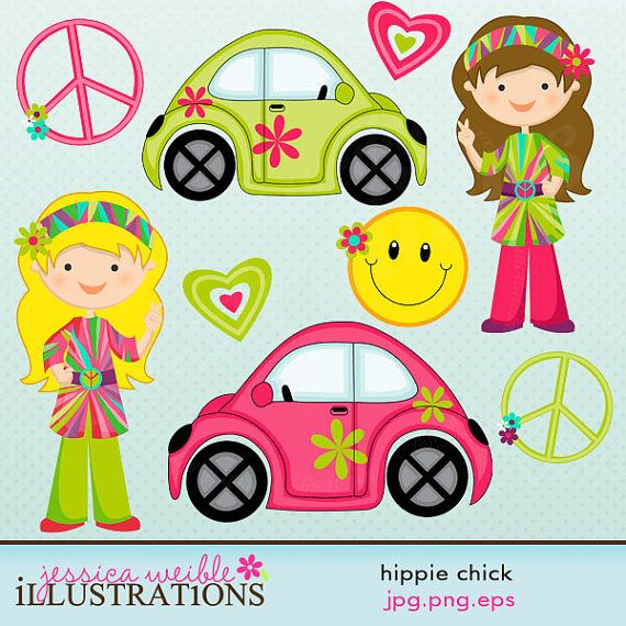 Hippie Chick Cute Digital Clipart For Card Design