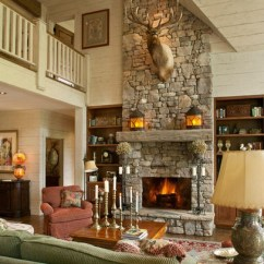 Living Room Decorating With Brown Sofa Elle Decor Rooms Stone Fireplace, Wooden Bookshelves, Double Height Space ...