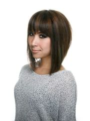 line bob haircut with bangs