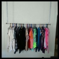 DIY hanging clothes rack!