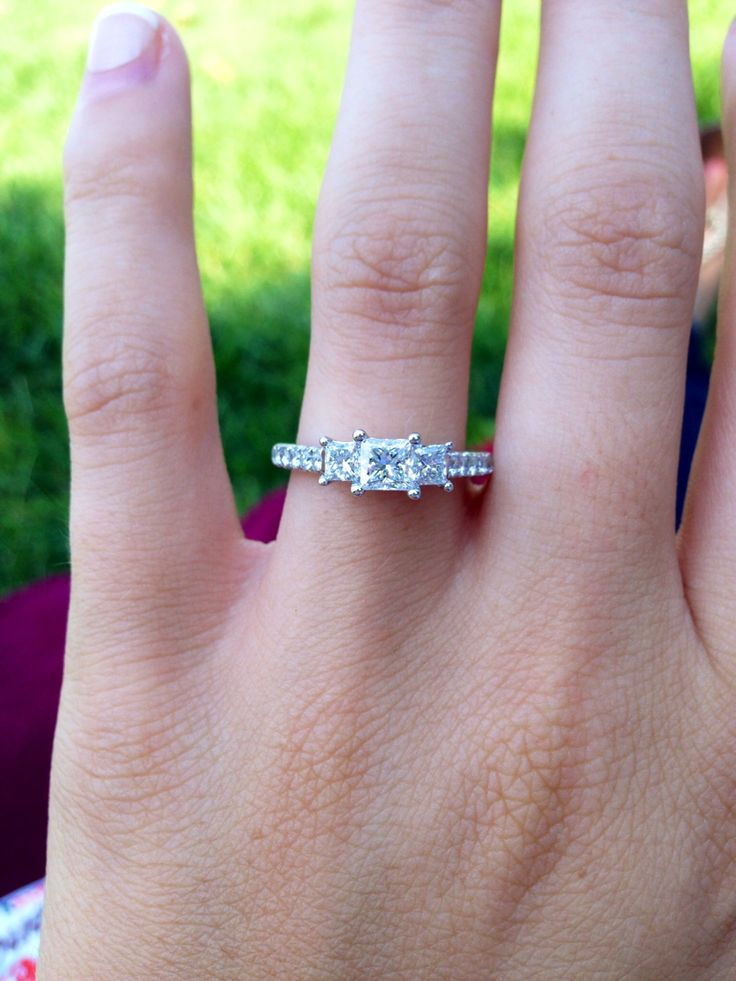 Past Present Future Three Stone Engagement Ring And