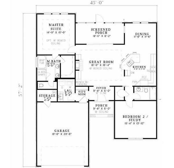 Traditional Style House Plans 1426 Square Foot Home 1 Story 2 Bedroom And