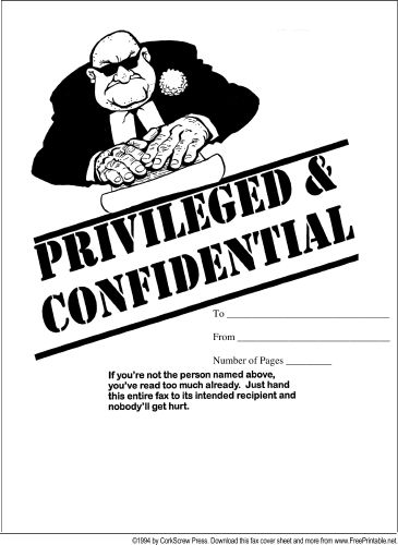 This printable fax cover sheet, with a cartoon of a