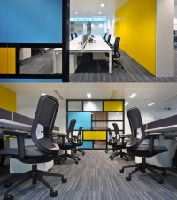 Open Plan Office with sky-blue and yellow glass wall! # ...