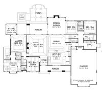 Large one story house plan, big kitchen with walk in ...