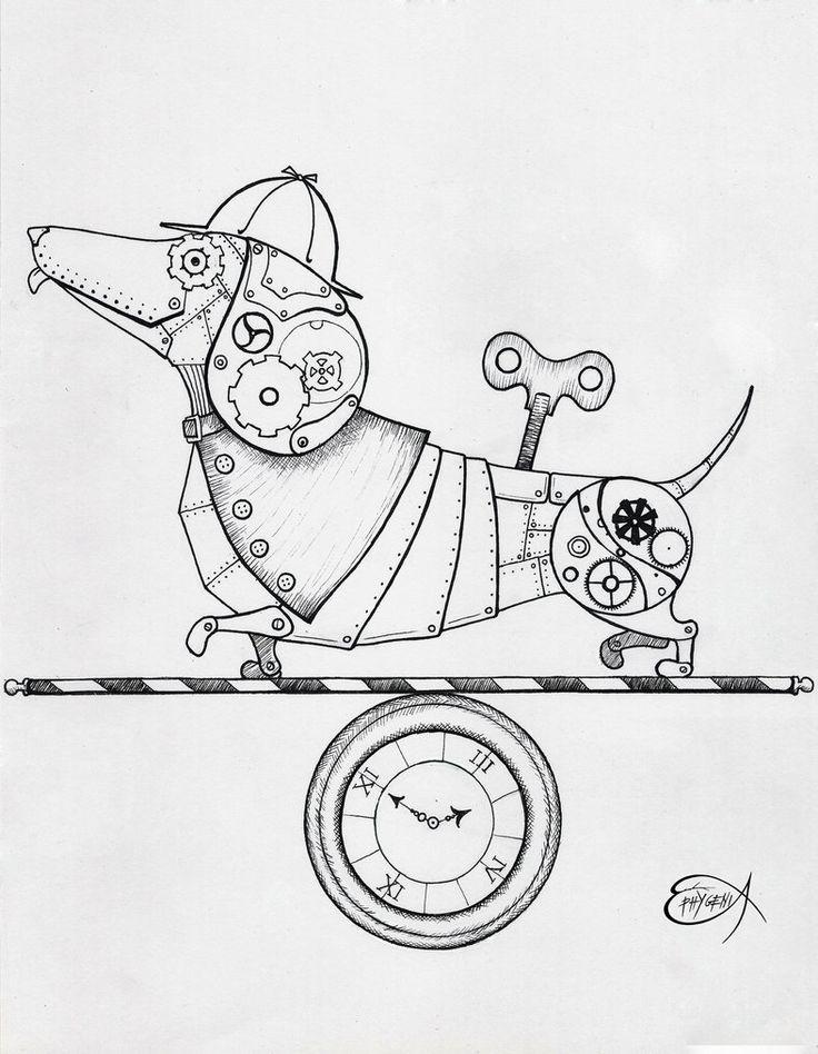 Steampunk Clockwork Dachshund dog WIP by EpHyGeNiA gears
