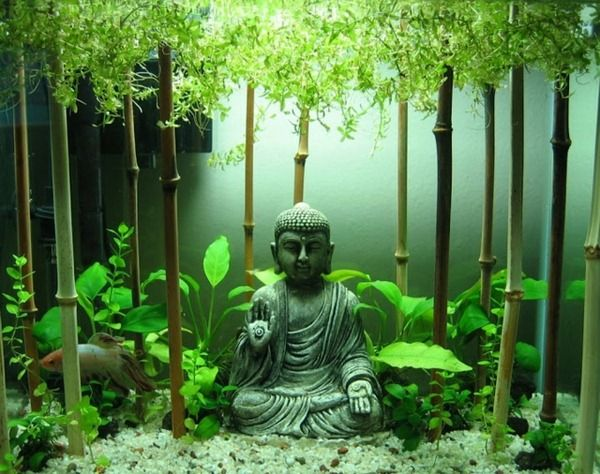 Buddha bamboo sticks goldfish aquarium small original decoration  Fish Aquarium  Pinterest