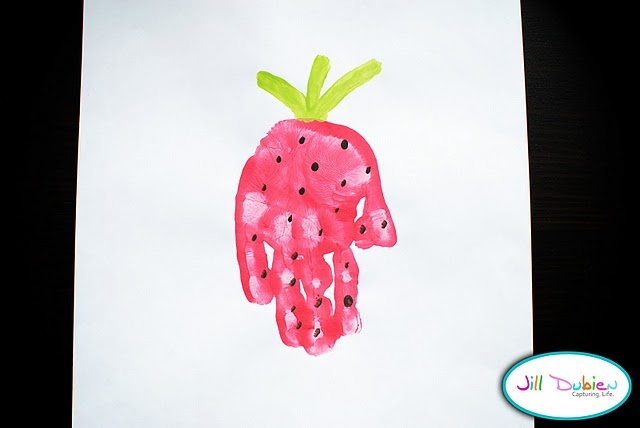 """Hand print activity for """"Little Mouse and the Red Ripe Strawberry""""( I love all these story activities, but what common core standard do they go with so I can do them with my"""