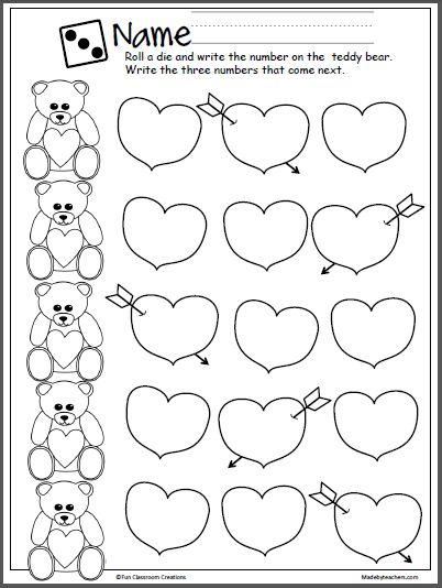 Valentine's Day Teddy Bear Number Practice Activity