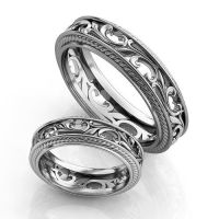 Vintage style Silver Wedding Bands Silver Wedding Ring set