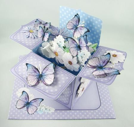 3D Flowers Butterflies Rubber Band Pop Up Box Card On