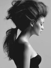 big crazy hair in ponytail- simple
