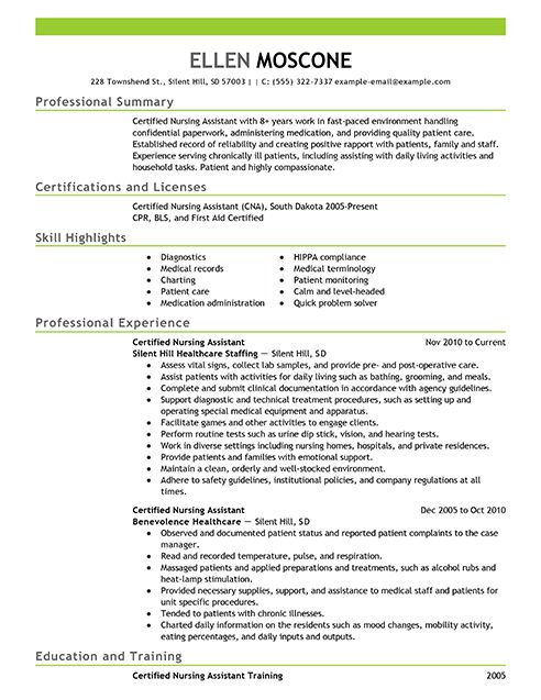 medical professional certifications on resume example