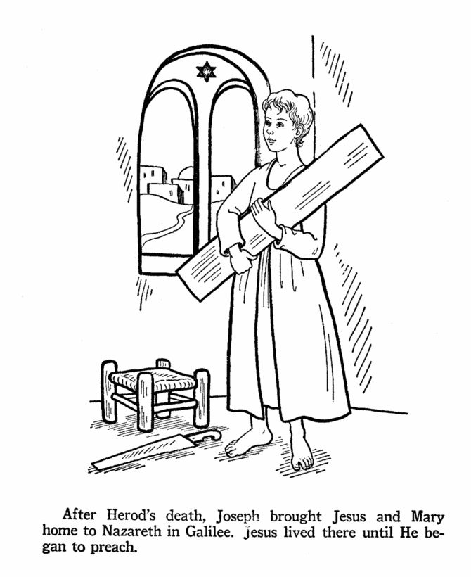 Jesus as a youth in St. Joseph's Carpenter shop. Catholic
