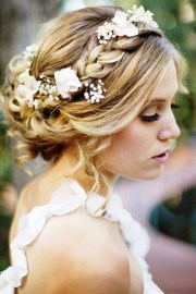 bride's loose updo braid with white