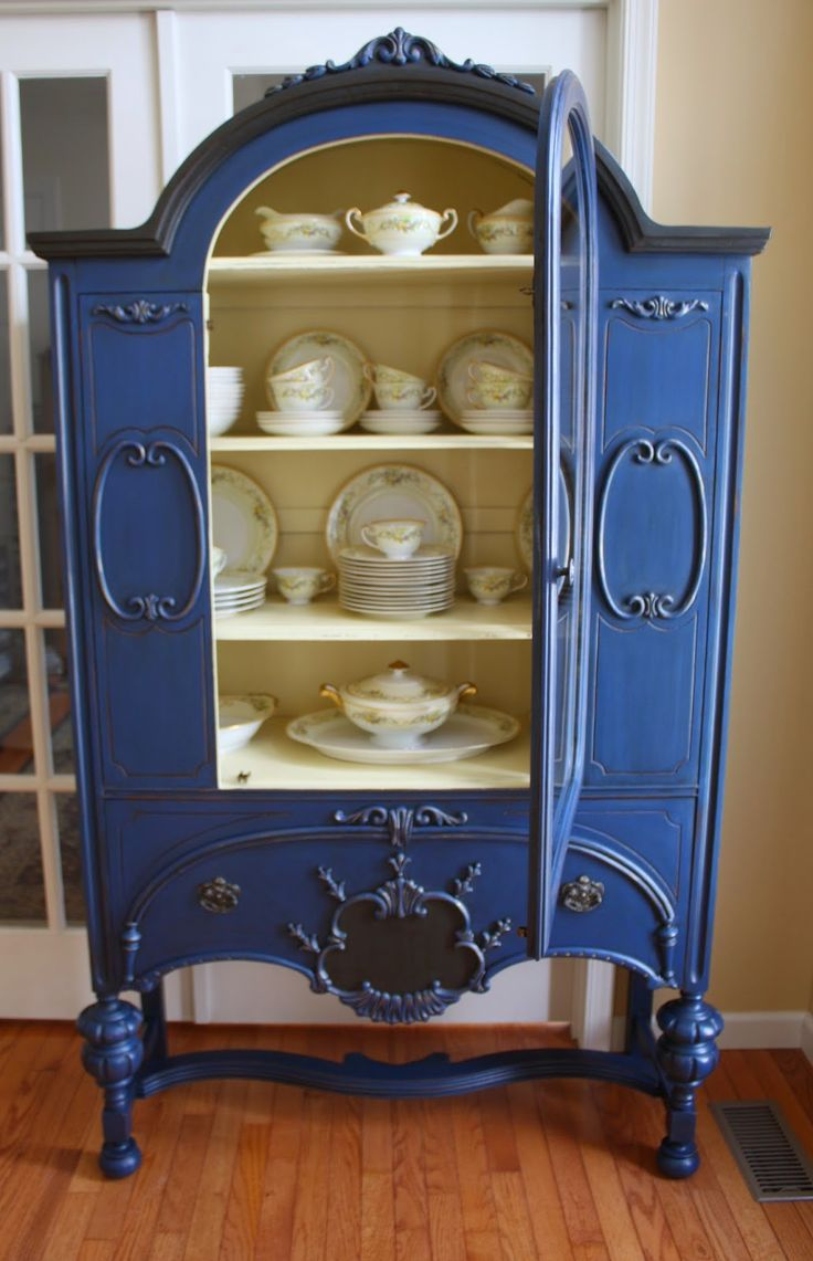 ASCP Napoleanic Blue with Graphite Accents Depression Era China Cabinet SOLD  Furniture