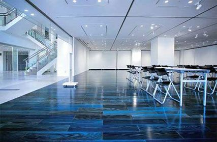 Flooring made of Japanese cedar stained with indigo dye at the Tokushima City Library Gallery