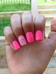 hot neon pink tribal accent nail