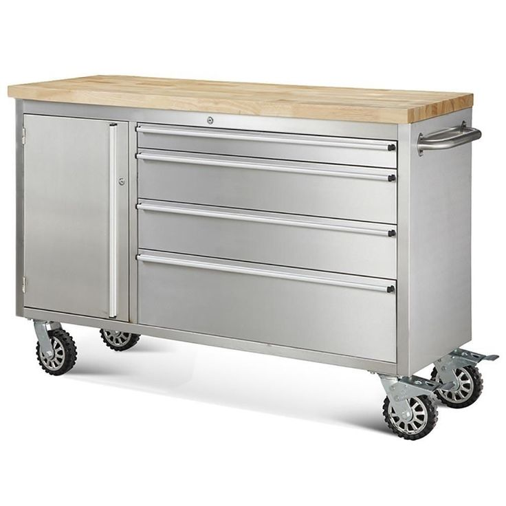 Hyxion 48  4Drawer and Cabinet Rolling Stainless Steel