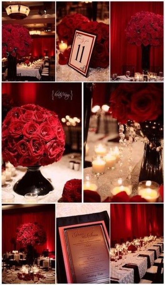 Black and Red wedding ideas | Weddinary.com, replace roses with carnations and its perfect: