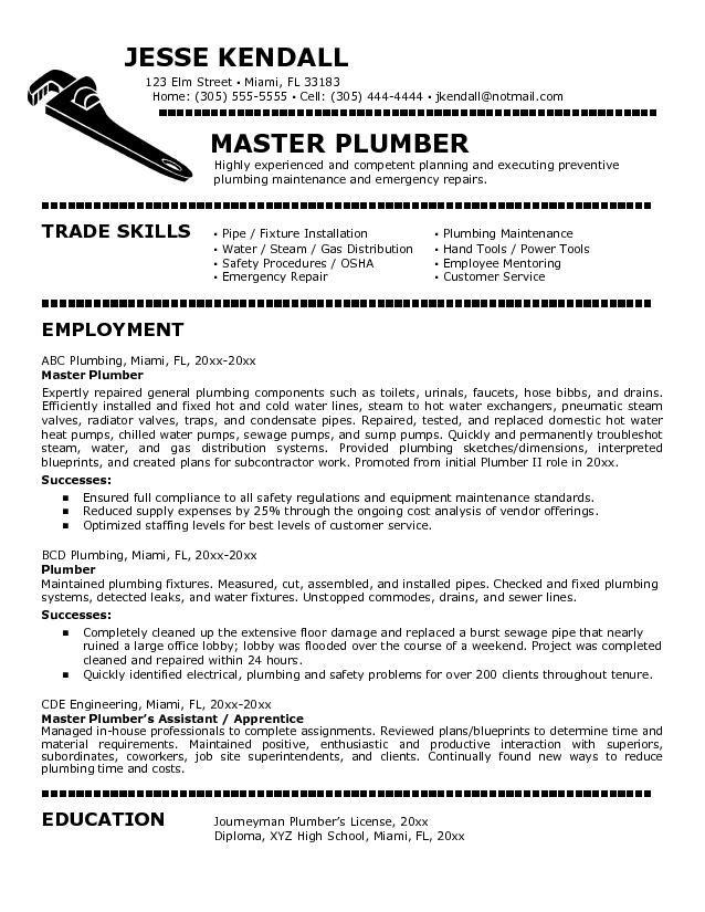 Plumbers Jobs Cover Letter For Plumber Job Resumes